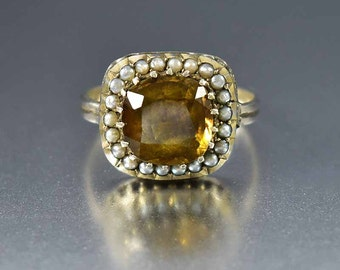 Antique Georgian Seed Pearl Citrine Ring, Gold Gilded Silver Victorian Ring, Antique Ring, Pearl Halo Ring, Alternative Engagement Ring