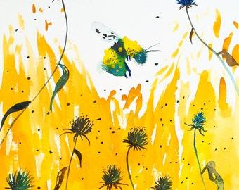 """Watercolor Painting Bumblebee in Blackeye Susans, Original Art 11""""x15"""""""