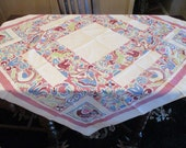 1950's Vintage Tablecloth, Rosy Pink and Teal on White Background, Dutch Looking Motif, Angels, Birds, Tulips, Unicorns, Cotton, No Flaws