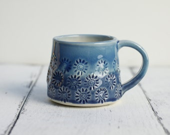 porcelain coffee cup, blues