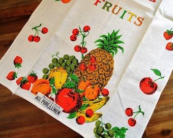 Unused Vintage Linen Kitchen Towel Fruit Cherries Strawberries Bananas Pineapple MWT Paper Label