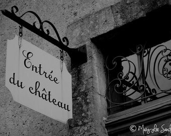 Black & white French chateau entrance sign perfect to make a statement on any wall