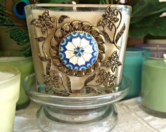 Soy Wax Jewelry Candle, Upcycled Vintage Cloisonne Brooch, Antique Brass Filagree Butterfly Flowers, YOUR SCENT CHOICE, Homemade,Hand Poured