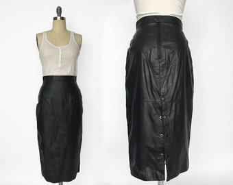 80s Long Black Leather Pencil Skirt // High Wasited Leather Pencil Skirt // Small - Medium