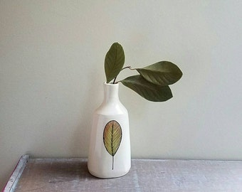 Orange leaf ceramic vase,  hand drawn leaf design, nature art, leaf design home decor
