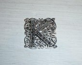 Antique K Pin Marcasite Sterling Silver Filigree Initial Letter Jewelry