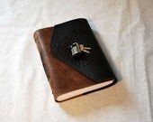 Custom Black Leather Diary with Lock and Lined Paper-Large