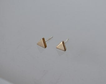 Stud Earrings, Triangle Earrings, Gold Color Triangle Earrings, Thick Triangle Earrings, Brass Earrings, Small Earrings, Tiny Earrings, Stud