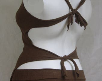 Chocolate Hemp Cotton Blend Cowl Neck Backless Goddess top