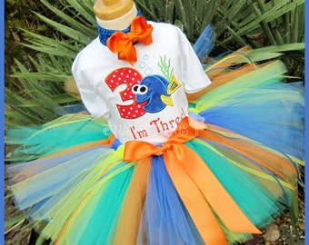 Dory with Number,  Party Outfit, Birthday ,Tutu Set, Theme Parties, Photo Shoot, Personalized  in Size 1yr thru 5yrs