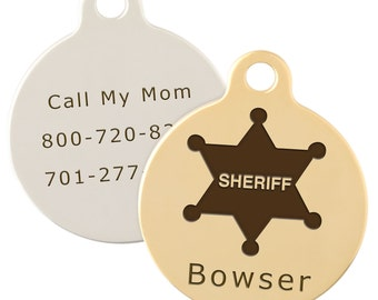 Signature Persona Sheriff Dog ID Tag - Free Laser Engraving - Gold and Silver Plated Brass Tag