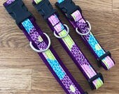 Dailiah Delite Dog Collar, Deep purple dog collar, Bright Floral Dog Collar, Dog collars for spring.