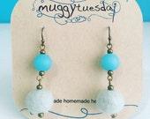 Newport Felt Earrings - Sky Blue, Statement Dangle Earrings,