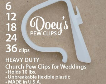 Pew Clips attach Wedding Ceremony Church Aisle decorations to Pews, Chairs, Tables to hang Bows, Flowers and Mason Jars. ALL Doey Pew Hooks