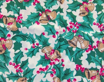 Vintage Christmas Bells And Holly Fabric