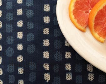 Indigo Resist Dyed and Block Printed Fabric from India - Batik - Dabu - Geometric Block Print