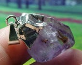 Raw Or Natural Amethyst Crystal Silver Abundance Pendant Or Center Piece For Your Creations 002