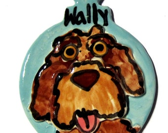 Custom dog or cat handmade pottery ornament from a photo of your pet dimensional style