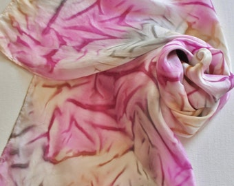 Hand Painted Silk Scarf - Handpainted Scarves Pink Gray Magenta Rose Strawberry Mauve Grey Tan Beige Bubblegum Raspberry Breast Cancer
