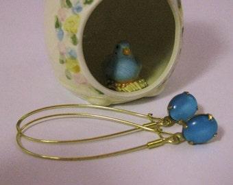 Aqua Blue Glass Earrings Raw Brass Aqua Earrings Aqua Blue Earrings Blue Glass Earrings Handmade Earrings Blue Earrings Dangle Earrings