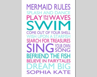 MERMAID RULES Quote Personalized Mermaid Decor Mermaid Wall Art Girl Bedroom Decor Mermaid Bathroom Decor Mermaid Art - Choose Your Colors