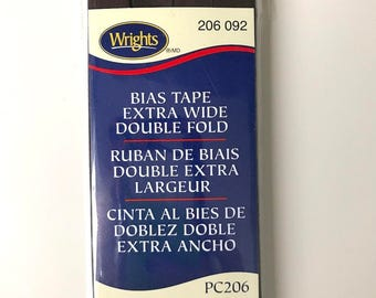 Wrights Bias Tape - Extra Wide - Double Fold - Brown - Dark Brown - 3 Yards - Binding for Sewing - Half Inch