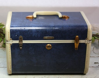 Vintage SAMSONITE Blue Marble Train Case- Hard Shell Luggage- Train Case- Studio Storage Display- Cosmetic Case