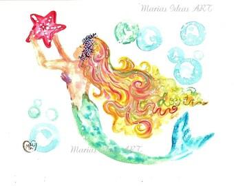 Mermaid art true colors, Under the Sea art, Beach art, Mermaid Princess, Mermaid Goddess, nursery wall art, kids room, bathroom wall art