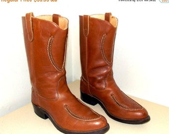 ON SALE Western Brown Leather Double H Cowboy boots size 11.5 D