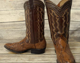 Brown Snakeskin Cowboy Boots Mens Size 10.5 11 Vintage Country Western Snake