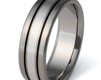 Silver Titanium Wedding Ring with Black Stripes - Silver and Black Band - sv1Black