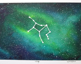 Virgo Constellation Watercolor Painting