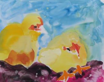 Baby Chicks - small watercolor painting South Carolina artist Linda Hunt - wildlife painting, Yupo watercolor paper, Gouache watercolor NEW