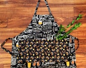 Cheers! Beer themed pub crawl apron with chalkboard style pubwriting with matching beer steins cotton fabric