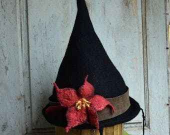 Witch hat wizard magic hat Unique Witches Hat Black Halloween Hat Felt Hat Wizard Costume Hat Felt Hat Felt tall pointed hat