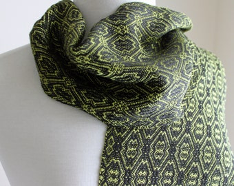 Chartreuse and black handwoven tencel scarf