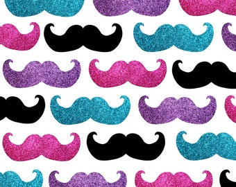 Hipster Fabric - Mustache Pattern In Pink Purple And Blue By Inspirationz - Mustache Cotton Fabric By The Yard With Spoonflower