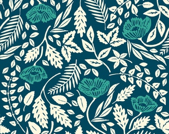 Vintage Teal Floral Fabric - Teal, White, And Blue Flowers By Landpenguin - Blue Floral Cotton Fabric By The Yard With Spoonflower