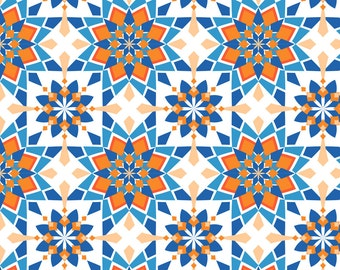 Orange + Blue Tile Fabric - Moroccan-Skies By Alexiazotos - Geometric Moroccan Tile Cotton Fabric By The Yard With Spoonflower