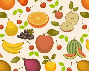 Summer Fruit Salad Fabric - Fruit Salad By Studiofibonacci - Summer Fruit Cotton Fabric By The Yard With Spoonflower