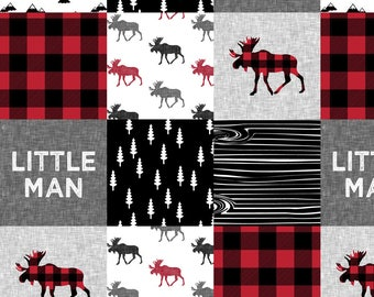 Red Rustic Cheater Quilt Fabric - Little Man Patchwork Quilt Top || Buffalo Plaid By Littlearrowdesign - Wholecloth Fabric With Spoonflower