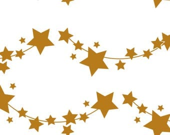 Gold Star Fabric - Golden Stars By Newmomdesigns - Gold Star Stripes Cotton Fabric By The Yard With Spoonflower