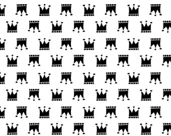 Black and White Fabric - Black Crowns By Newmomdesigns - Nursery Decor Crowns Cotton Fabric By The Yard With Spoonflower