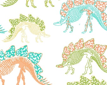 Colorful Dinosaurs Fabric - Stego Is My Man By Lulabelle - Dino Nursery Decor Cotton Fabric By The Yard With Spoonflower
