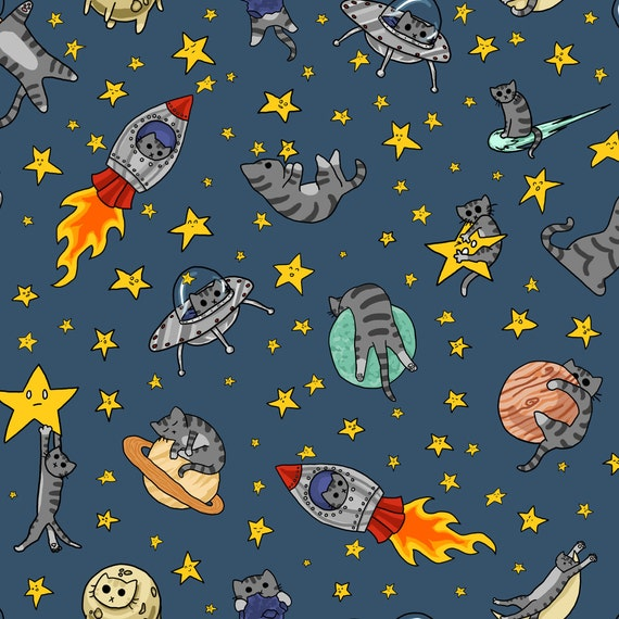 Space cat fabric astro cats by amber morgan galaxy for Space cat fabric