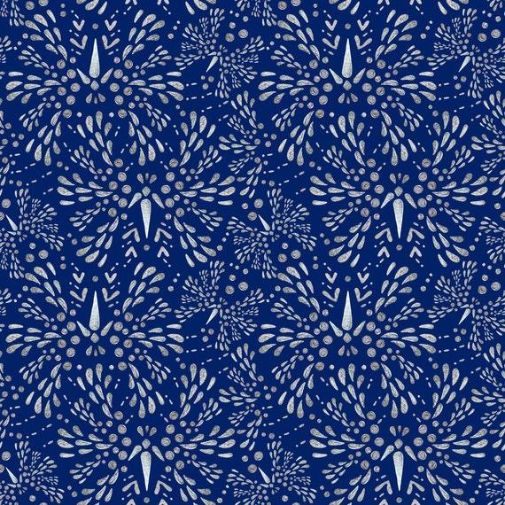 Navy Twinkle Fabric Silver Twinkle Deep Blue By