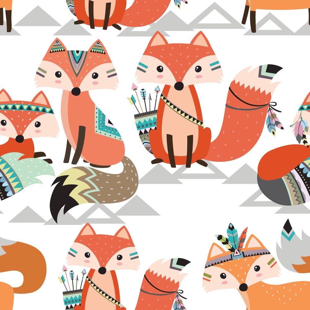 Woodland Tribal Fabric Tribal Woodland Foxes By Rocky