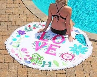 Round Beach Towel , LOVE  monogrammed beach towel personalized Round Summer Towel , Circle Beach Towel, Bridesmaid gift