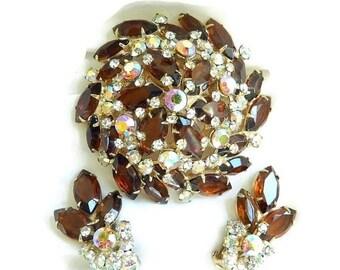 JULIANA Rhinestone Brooch and Earrings Set Amber, Topaz, Clear and Aurora Borealis Verified D&E