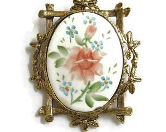 Floral Cameo Brooch or Pendant Vintage Framed Hand Painted Porcelain
